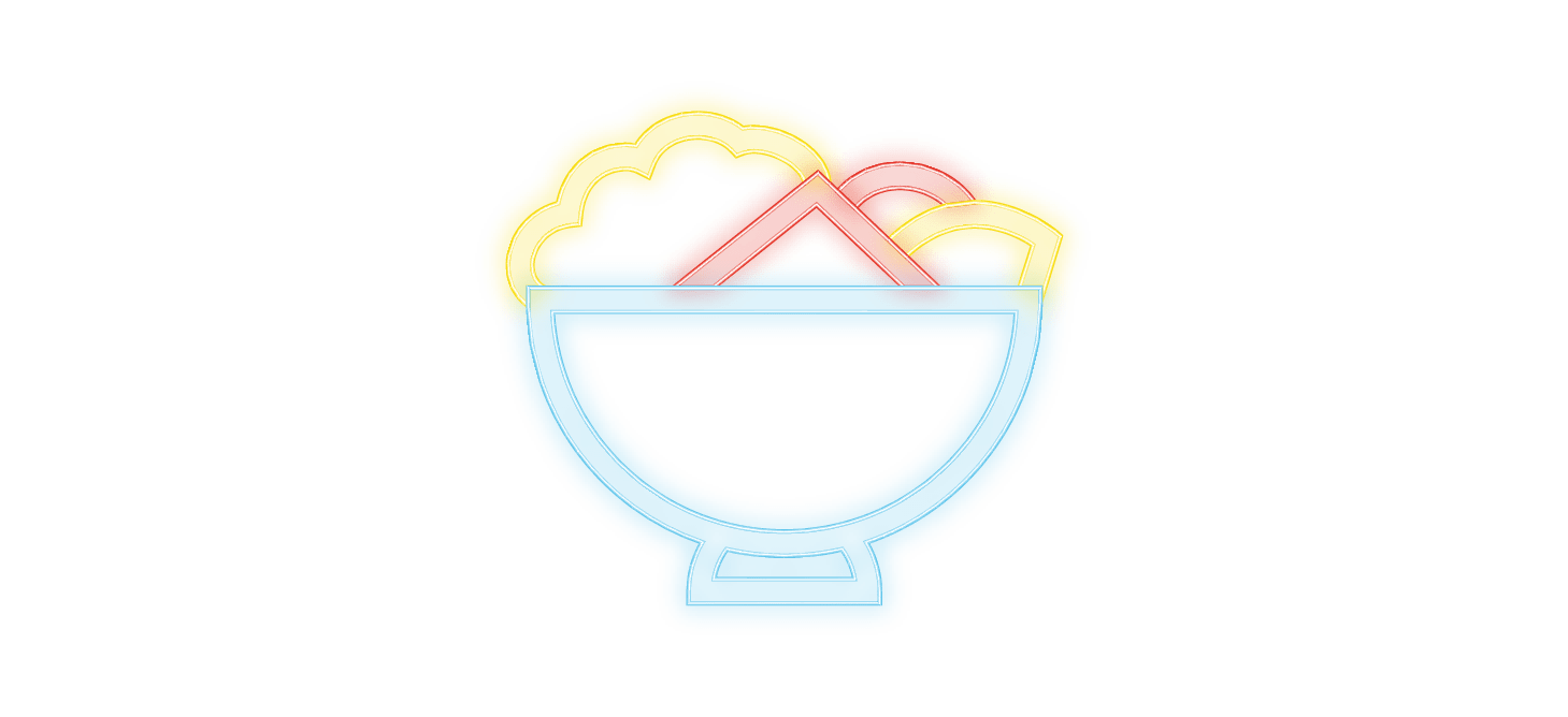 cosmopolitain restaurant bar pictos neon bowls