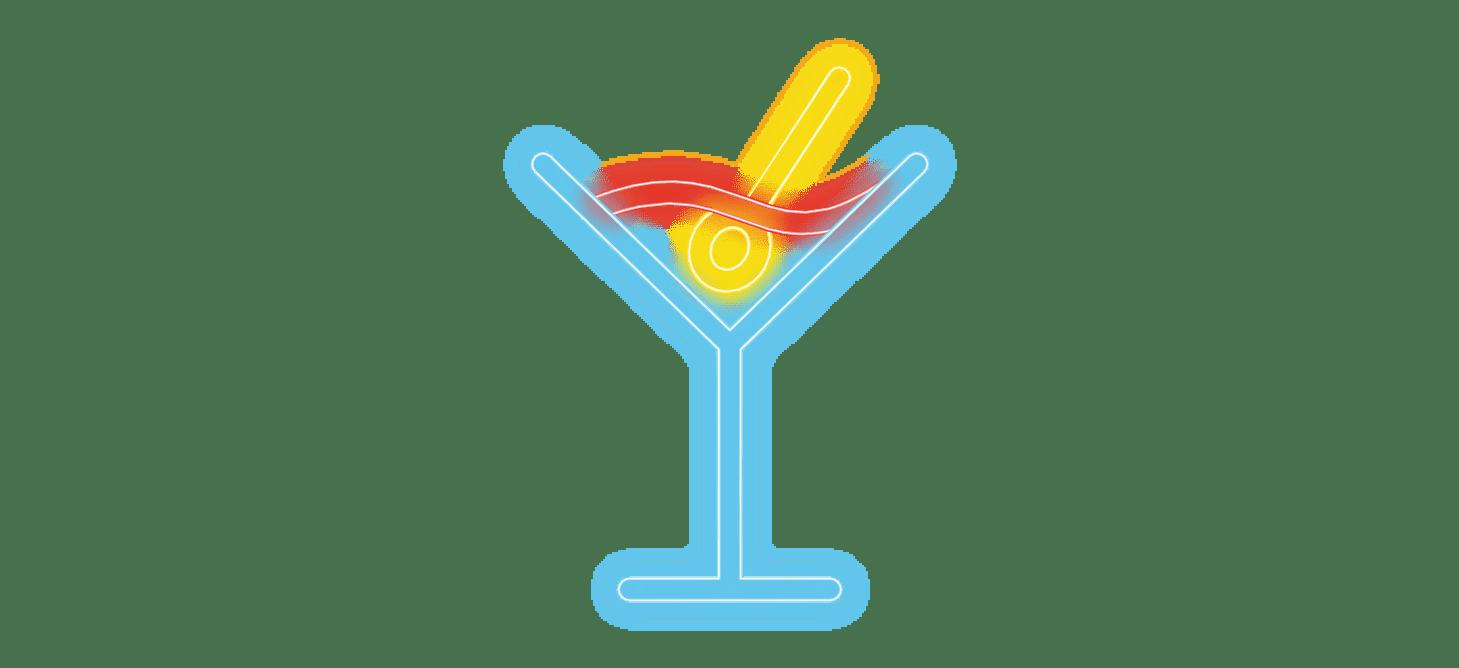 cosmopolitain restaurant bar pictos neon cocktails classiques