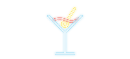 cosmopolitain restaurant bar pictos neon cocktails raffines
